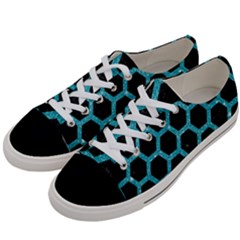 Hexagon2 Black Marble & Turquoise Glitter (r) Women s Low Top Canvas Sneakers by trendistuff
