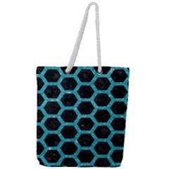 Hexagon2 Black Marble & Turquoise Glitter (r) Full Print Rope Handle Tote (large) by trendistuff