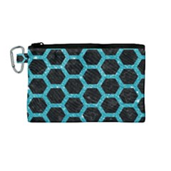 Hexagon2 Black Marble & Turquoise Glitter (r) Canvas Cosmetic Bag (medium) by trendistuff
