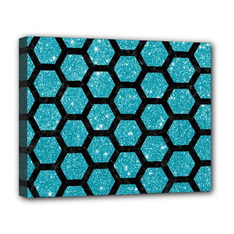 Hexagon2 Black Marble & Turquoise Glitter Deluxe Canvas 20  X 16   by trendistuff