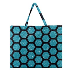 Hexagon2 Black Marble & Turquoise Glitter Zipper Large Tote Bag by trendistuff