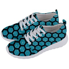 Hexagon2 Black Marble & Turquoise Glitter Men s Lightweight Sports Shoes by trendistuff