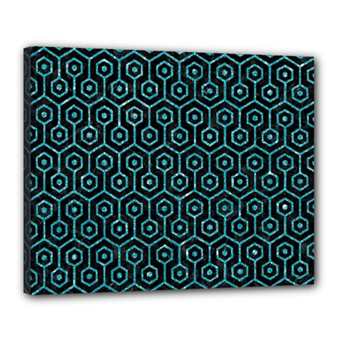 Hexagon1 Black Marble & Turquoise Glitter (r) Canvas 20  X 16  by trendistuff