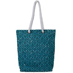 Hexagon1 Black Marble & Turquoise Glitter Full Print Rope Handle Tote (small) by trendistuff