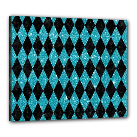 Diamond1 Black Marble & Turquoise Glitter Canvas 24  X 20  by trendistuff