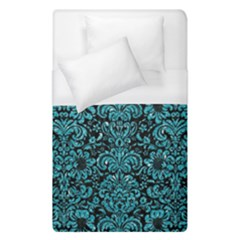 Damask2 Black Marble & Turquoise Glitter (r) Duvet Cover (single Size) by trendistuff