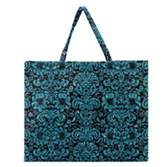 Damask2 Black Marble & Turquoise Glitter (r) Zipper Large Tote Bag by trendistuff