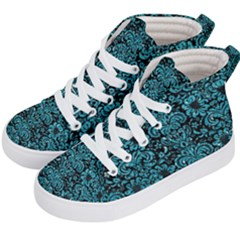 Damask2 Black Marble & Turquoise Glitter (r) Kid s Hi Top Skate Sneakers by trendistuff