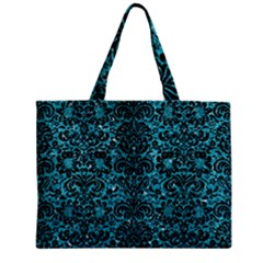 Damask2 Black Marble & Turquoise Glitter Zipper Mini Tote Bag by trendistuff