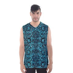 Damask2 Black Marble & Turquoise Glitter Men s Basketball Tank Top by trendistuff