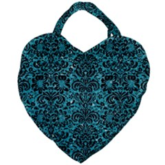 Damask2 Black Marble & Turquoise Glitter Giant Heart Shaped Tote by trendistuff