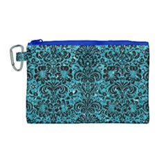Damask2 Black Marble & Turquoise Glitter Canvas Cosmetic Bag (large) by trendistuff