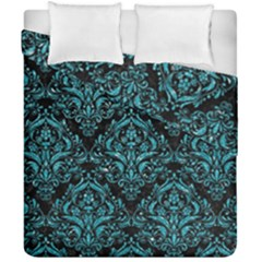 Damask1 Black Marble & Turquoise Glitter (r) Duvet Cover Double Side (california King Size) by trendistuff