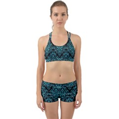 Damask1 Black Marble & Turquoise Glitter (r) Back Web Sports Bra Set by trendistuff