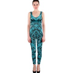 Damask1 Black Marble & Turquoise Glitter One Piece Catsuit