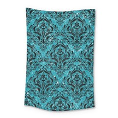 Damask1 Black Marble & Turquoise Glitter Small Tapestry