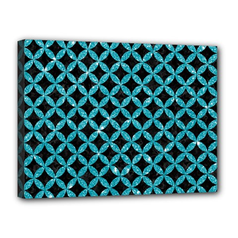 Circles3 Black Marble & Turquoise Glitter (r) Canvas 16  X 12  by trendistuff
