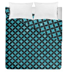 Circles3 Black Marble & Turquoise Glitter Duvet Cover Double Side (queen Size) by trendistuff
