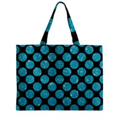 Circles2 Black Marble & Turquoise Glitter (r) Zipper Mini Tote Bag by trendistuff
