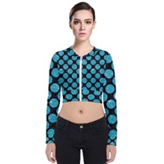 Circles2 Black Marble & Turquoise Glitter (r) Bomber Jacket by trendistuff