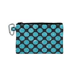 Circles2 Black Marble & Turquoise Glitter (r) Canvas Cosmetic Bag (small) by trendistuff