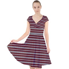 Indian Stripes Cap Sleeve Front Wrap Midi Dress by jumpercat