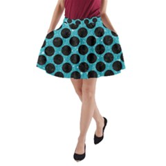 Circles2 Black Marble & Turquoise Glitter A Line Pocket Skirt by trendistuff