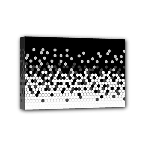 Flat Tech Camouflage Black And White Mini Canvas 6  X 4  by jumpercat
