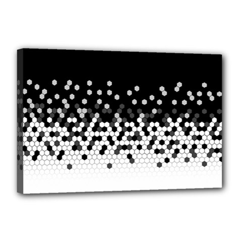 Flat Tech Camouflage Black And White Canvas 18  X 12  by jumpercat