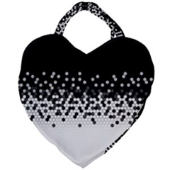 Flat Tech Camouflage Black And White Giant Heart Shaped Tote