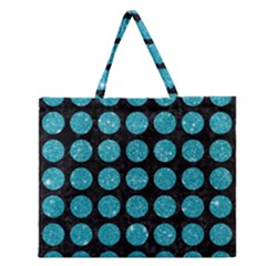 Circles1 Black Marble & Turquoise Glitter (r) Zipper Large Tote Bag