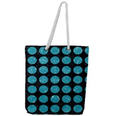 Circles1 Black Marble & Turquoise Glitter (r) Full Print Rope Handle Tote (large) by trendistuff