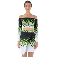 Flat Tech Camouflage Reverse Green Off Shoulder Top With Skirt Set