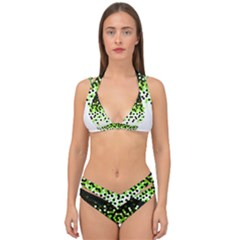 Flat Tech Camouflage Reverse Green Double Strap Halter Bikini Set by jumpercat