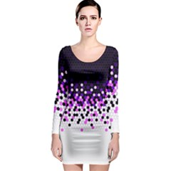 Flat Tech Camouflage Reverse Purple Long Sleeve Bodycon Dress by jumpercat