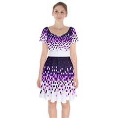 Flat Tech Camouflage Reverse Purple Short Sleeve Bardot Dress by jumpercat