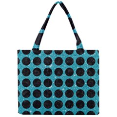 Circles1 Black Marble & Turquoise Glitter Mini Tote Bag by trendistuff