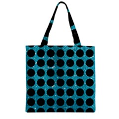 Circles1 Black Marble & Turquoise Glitter Zipper Grocery Tote Bag by trendistuff
