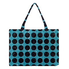 Circles1 Black Marble & Turquoise Glitter Medium Tote Bag by trendistuff