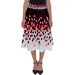 Flat Tech Camouflage Reverse Red Perfect Length Midi Skirt