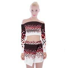 Flat Tech Camouflage Reverse Red Off Shoulder Top With Mini Skirt Set by jumpercat