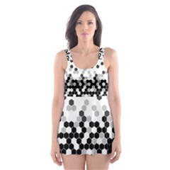 Flat Tech Camouflage White And Black Skater Dress Swimsuit
