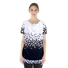 Flat Tech Camouflage White And Black Skirt Hem Sports Top by jumpercat