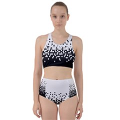 Flat Tech Camouflage White And Black Racer Back Bikini Set by jumpercat