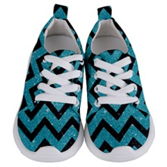 Chevron9 Black Marble & Turquoise Glitter Kids  Lightweight Sports Shoes
