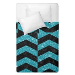 Chevron2 Black Marble & Turquoise Glitter Duvet Cover Double Side (single Size) by trendistuff