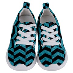 Chevron2 Black Marble & Turquoise Glitter Kids  Lightweight Sports Shoes