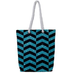 Chevron2 Black Marble & Turquoise Glitter Full Print Rope Handle Tote (small) by trendistuff