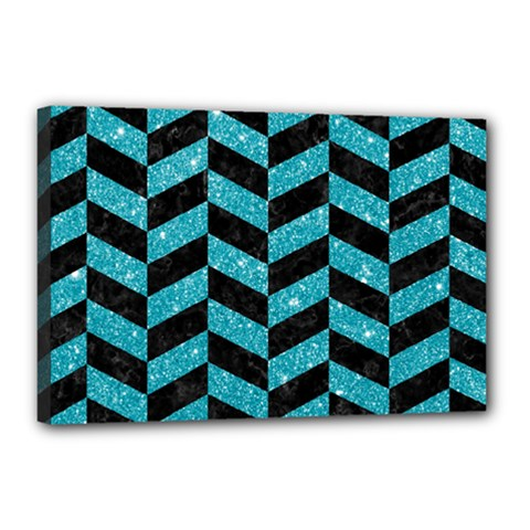 Chevron1 Black Marble & Turquoise Glitter Canvas 18  X 12  by trendistuff