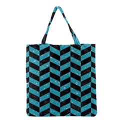 Chevron1 Black Marble & Turquoise Glitter Grocery Tote Bag by trendistuff